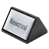 American Metalcraft SIGNR6 Black Wood Reserved Sign - Double-Sided