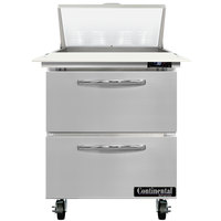 Continental Refrigerator SW27-N-8C-D 27 inch 2 Drawer Cutting Top Refrigerated Sandwich Prep Table