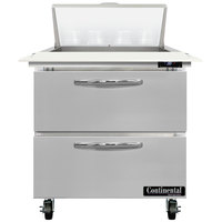 Continental Refrigerator SW32-N-8C-D 32 inch 2 Drawer Cutting Top Refrigerated Sandwich Prep Table