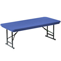 Correll R-Series RA3060S 30 inch x 60 inch Blue Plastic Adjustable Height Folding Table - Short Legs