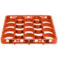 Carlisle REW20SC24 OptiClean NeWave 20 Compartment Orange Color-Coded Short Glass Rack Extender