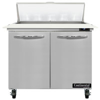 Continental Refrigerator SW36-N-10C 36 inch 2 Door Cutting Top Refrigerated Sandwich Prep Table