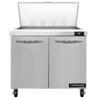 Continental Refrigerator SW36-N-15M 36 inch 2 Door Mighty Top Refrigerated Sandwich Prep Table