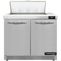 Continental Refrigerator SW36-N-8-FB 36 inch 2 Door Front Breathing Refrigerated Sandwich Prep Table