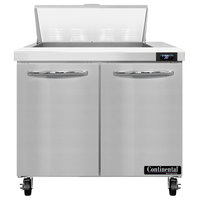 Continental Refrigerator SW36-N-8 36 inch 2 Door Refrigerated Sandwich Prep Table