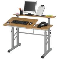 Safco 3965MO Medium Oak Adjustable Split Level Drafting Table