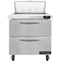 Continental Refrigerator SW32-N-8-D 32 inch 2 Drawer Refrigerated Sandwich Prep Table