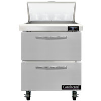 Continental Refrigerator SW27-N-8-D 27 inch 2 Drawer Refrigerated Sandwich Prep Table