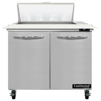 Continental Refrigerator SW36-N-8C 36 inch 2 Door Cutting Top Refrigerated Sandwich Prep Table
