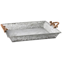 25 3/4 inch x 17 inch x 2 1/4 inch Rectangular Galvanized Tin Tray with Rope Handles