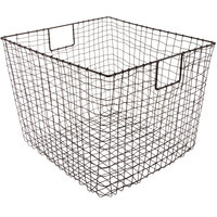 GET WB-302-MG Breeze 19 inch x 14 inch Square Metal Gray Storage Basket