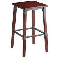 Lancaster Table & Seating Rustic Industrial Backless Bar Stool with Mahogany Finish