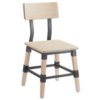 Lancaster Table & Seating Rustic Industrial Dining Side Chair with White Wash Finish