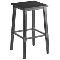 Lancaster Table & Seating Rustic Industrial Backless Bar Stool with Antique Slate Gray Finish