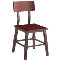 Lancaster Table & Seating Rustic Industrial Dining Side Chair with Mahogany Finish