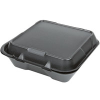 Genpak SN200-BK 9 inch x 9 inch x 3 inch Black Hinged Lid Foam Container - 100/Pack