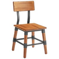 Lancaster Table & Seating Rustic Industrial Dining Side Chair with Antique Natural Finish