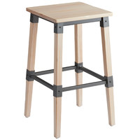 Lancaster Table & Seating Rustic Industrial Backless Bar Stool with White Wash Finish