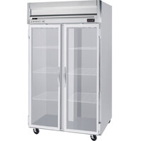 Beverage Air HFPS2-1G-LED 2 Section Glass Door Reach-In Freezer with LED Lighting - 49 cu. ft., SS Exterior and Interior