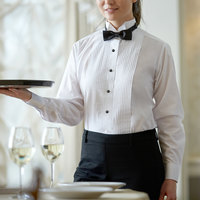 Henry Segal Women's Customizable White Tuxedo Shirt with Wing Tip Collar - 22