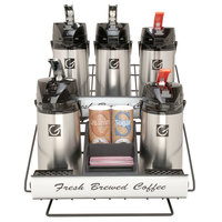 Grindmaster 70663 Two 3 Pot Wide Racks with One 3 Pot Riser and Condiment Holder