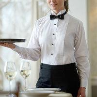 Henry Segal Women's Customizable White Tuxedo Shirt with Wing Tip Collar - 28