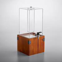 GET Enterprises Urban Renewal 3 Gallon Beverage Dispenser with Ice Chamber and 8 inch Walnut Square Riser