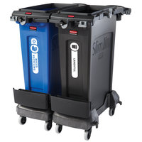 Rubbermaid 2032936 Slim Jim 2-Stream 23 Gallon Black Rim Caddy Kit with 2 Trash Cans and 2 Dollies
