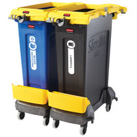 Rubbermaid 2032952 Slim Jim 2-Stream 23 Gallon Yellow Rim Caddy Kit with 2 Trash Cans and 2 Dollies
