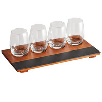 Acopa Chalkboard Tray with 6 oz. Stemless Wine Glasses