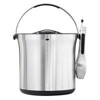 OXO 3107300 SteeL™ Double Wall Stainless Steel 4 Qt. Ice Bucket with Tongs