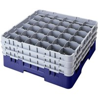 Cambro 36S638186 Navy Blue Camrack Customizable 36 Compartment 6 7/8 inch Glass Rack