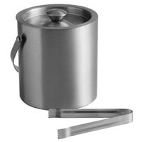 Franmara 9283 Jamboree Double Wall Brushed Stainless Steel 2 Qt. Ice Bucket with Lid and Tongs