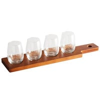 Acopa Dual-Sided Flight Paddle with 6 oz. Stemless Wine Glasses