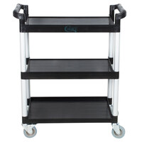 33 1/2 inch x 16 1/8 inch x 37 inch Black Three Shelf Utility Cart / Bus Cart