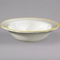 6 3/8 inch Ivory (American White) Scalloped Edge China Fruit Bowl with Gold Band - 36/Case
