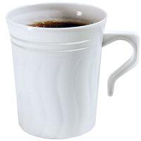 Fineline Silver Splendor 508WH 8 oz. White Plastic Coffee Mug - 120 / Case
