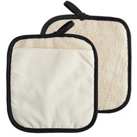 SafeMitt 9 1/2 inch x 8 1/2 inch Terry Cloth Pot Holder / Pan Grabber with Pocket   - 12/Pack