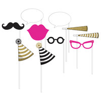 Creative Converting 318120 Black, Gold, and Pink Photo Booth Props - 60 Pieces