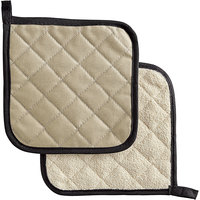 SafeMitt 8 inch x 8 inch 2-Sided Flame Retardant / Terry Cloth Pot Holder   - 12/Pack