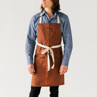 Stock Mfg. Co. Brown Waxed Canvas Bib Apron with 3 Pockets - 32 inchL x 27.5 inchW