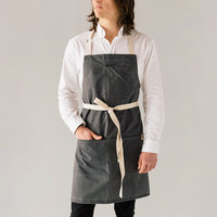 Stock Mfg. Co. Gray Waxed Canvas Bib Apron with 3 Pockets - 32 inchL x 27.5 inchW