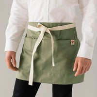 Stock Mfg. Co. Heather Green Poly-Cotton Twill Shorty Waist Apron with 3 Pockets - 14 inchL x 23 inchW