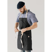 Stock Mfg. Co. Black Denim Bib Apron with 3 Pockets - 32 inchL x 27.5 inchW