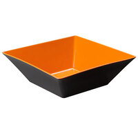 GET ML-249-OR/BK Brasilia 12.8 Qt. Orange and Black Square Melamine Bowl - 3/Case