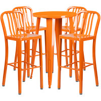 Flash Furniture CH-51080BH-4-30VRT-OR-GG 24 inch Round Orange Metal Indoor / Outdoor Bar Height Table with 4 Vertical Slat Back Stools