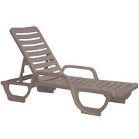 Grosfillex 44031081 Bahia French Taupe Stacking Adjustable Resin Chaise   - 6/Pack
