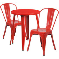 Flash Furniture CH-51080TH-2-18CAFE-RED-GG 24 inch Round Red Metal Indoor / Outdoor Table with 2 Cafe Chairs