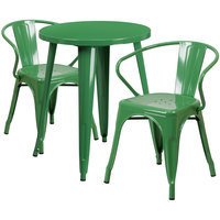 Flash Furniture CH-51080TH-2-18ARM-GN-GG 24 inch Round Green Metal Indoor / Outdoor Table with 2 Arm Chairs