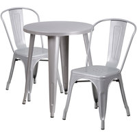 Flash Furniture CH-51080TH-2-18CAFE-SIL-GG 24 inch Round Silver Metal Indoor / Outdoor Table with 2 Cafe Chairs